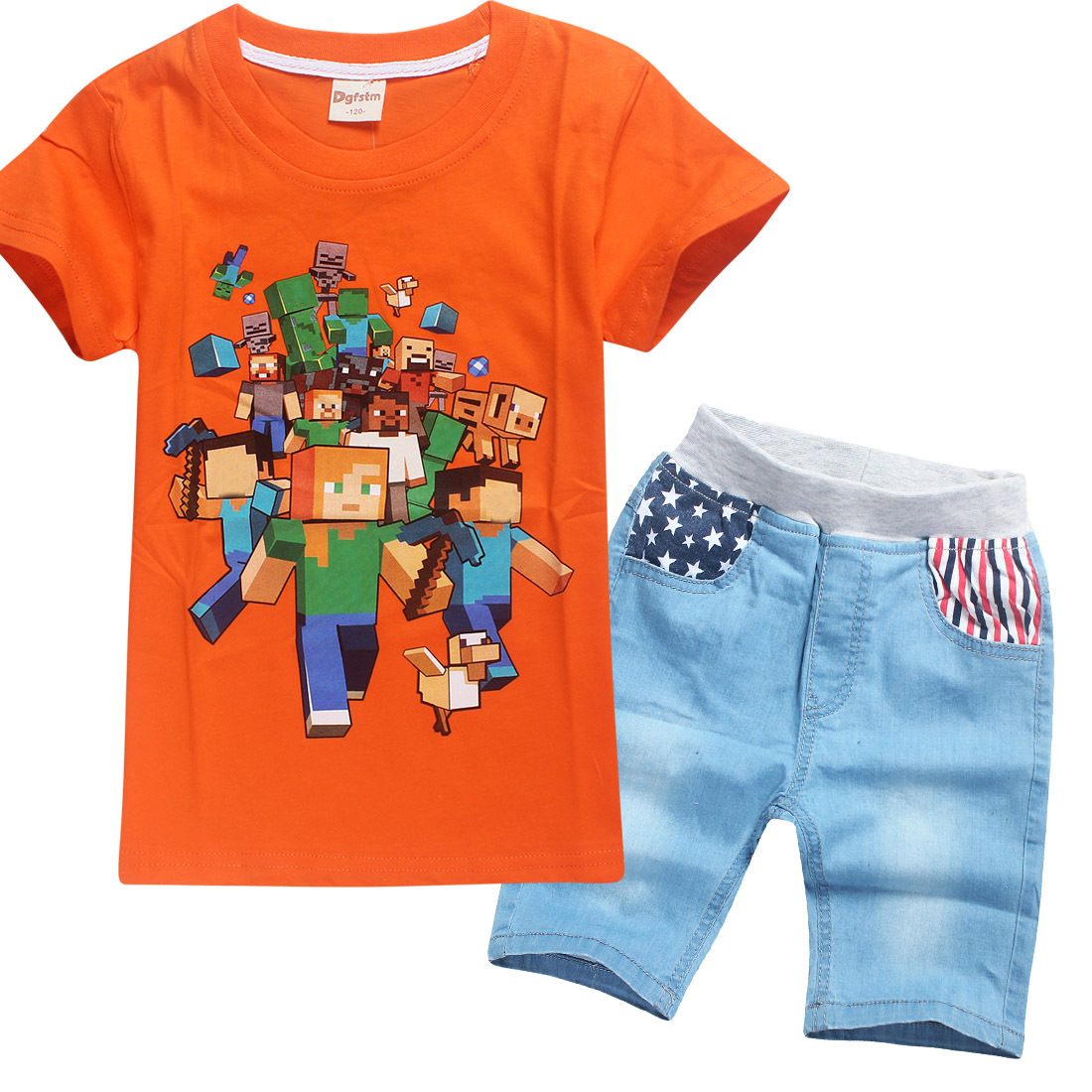 6 Colors Cotton Summer Childrens Set Minecraft Short Sleeve Girls Tops +Jeans Shorts 2pcs Set Character Print Kids Sports Suits