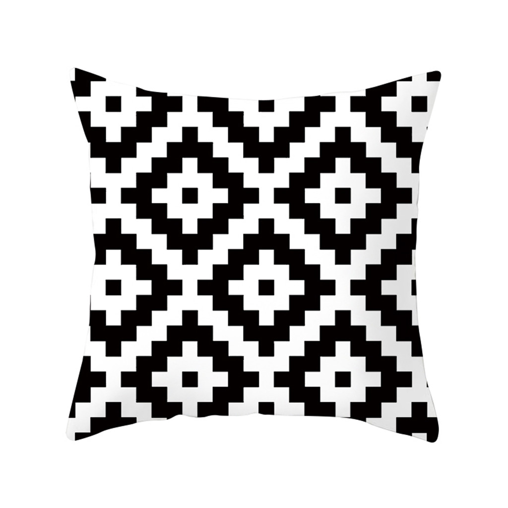 Us 6 63 50 Off Cushion Cover Decorative Pillows Geometric Cushions Covers Black And White Polyester Throw Square Pillow Case 18 19july3 P30 In