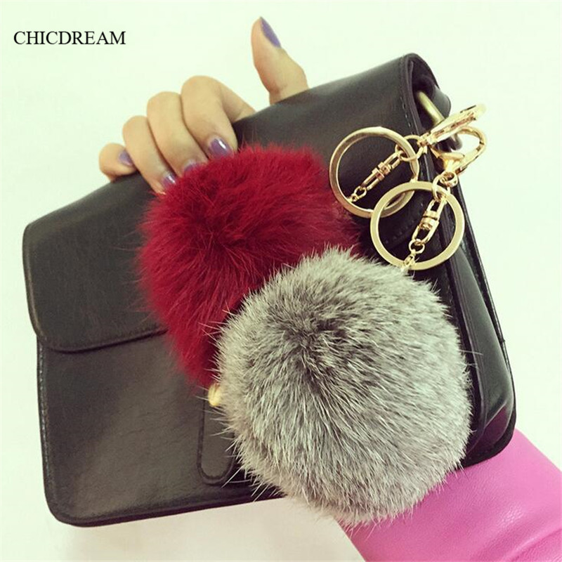 2016 Fashion 13 Colors Rabbit Fur Keychain Ball PomPom Cell Phone Car Keychain Pendant Handbag Gold Silver Metal Charm Key Ring