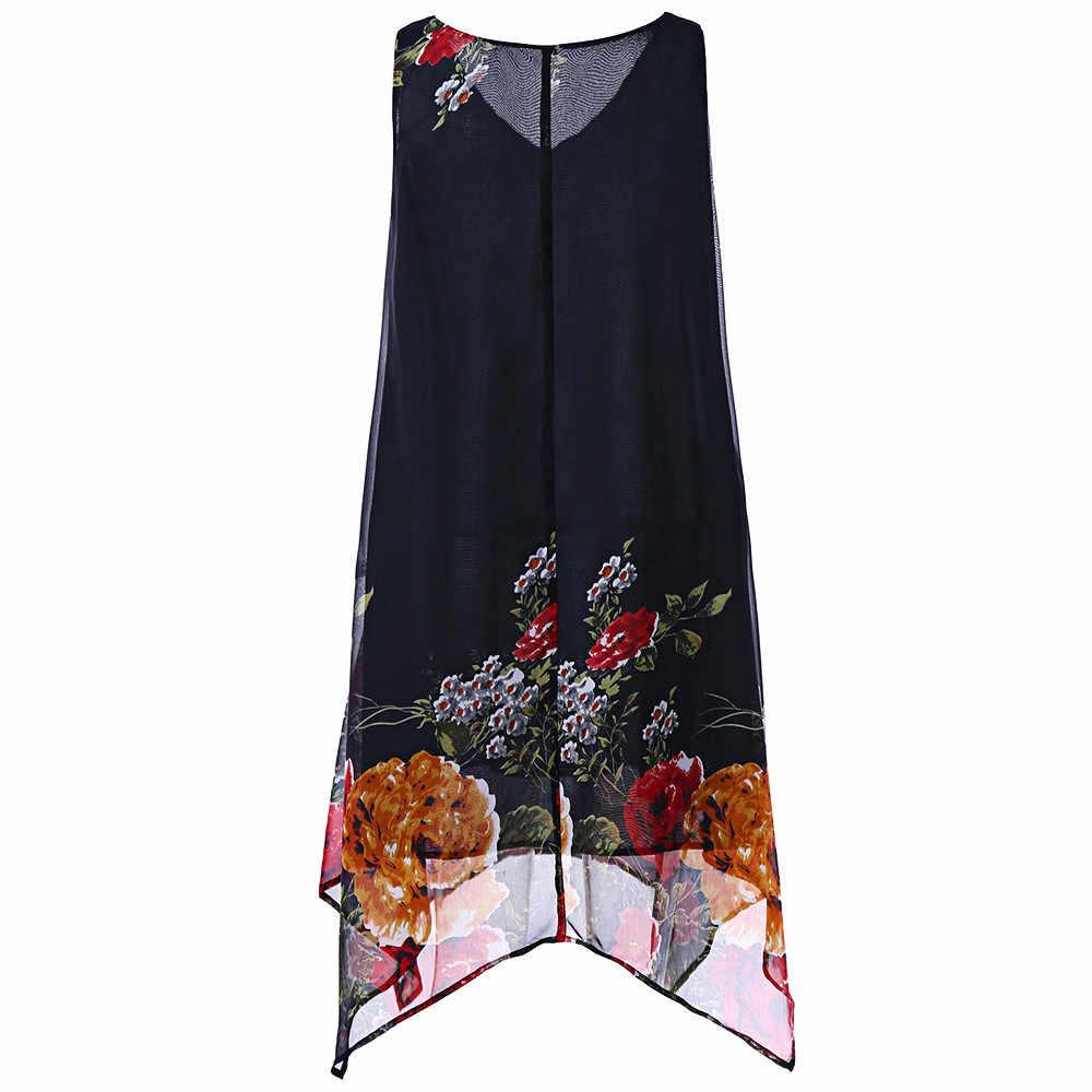 5XL плюс размер шифоновое платье с принтом для женщин без рукавов винтажное свободное мини пляжное платье Новая летняя vestidos летнее платье * N