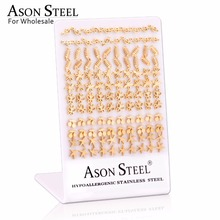 ASONSTEEL Stud Earring Gold Color Earrings Stainless Steel Earrings for Women Jewelry Wholesale 60Pairs/Lot