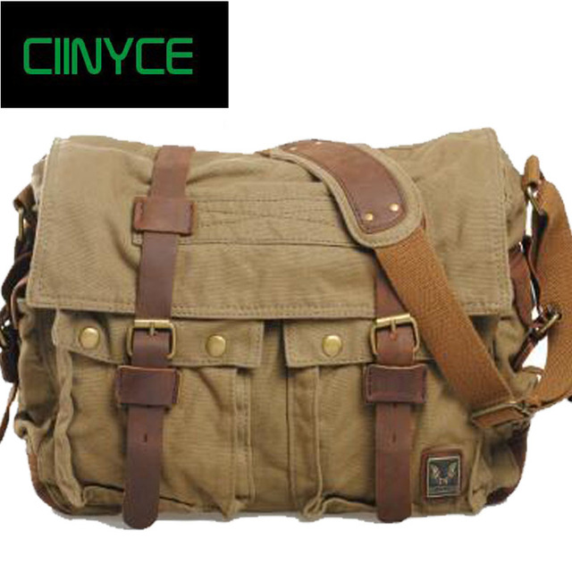 Real Hot Satchels Vintage Canvas Crazy Horse Leather Soft Man Bags Retro School Military Style
