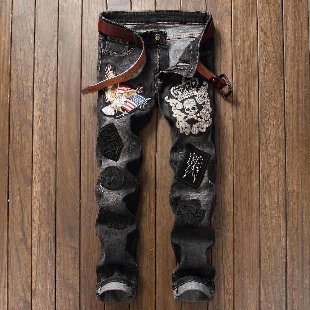 ФОТО NEW Patchwork Badge Jeans Men Casual Ripped Denim Men Straight Slim Fit Eagle Classic Skull Rap Distressed Hip Hop Biker Jean
