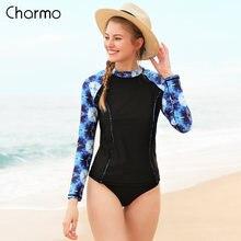 Женский купальный костюм с принтом charmo длинным рукавом и