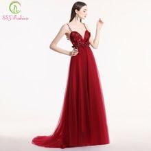 d0d46560c SSYFashion vestido nuevo baile Sexy sin espalda de cuello en V sin mangas  vino encaje rojo