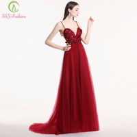 SSYFashion New Prom Dress Sexy V neck Backless Sleeveless Wine Red Lace Flower Party Formal Evening Gown Catwalk Dresses