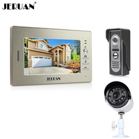 JERUAN Luxury 7 LCD Video Intercom Door Phone System 1 Monitor 1 700TVL Access Camera 700TVL