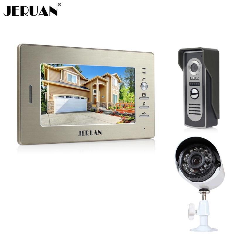 JERUAN luxury 7`` LCD Video Intercom Door Phone System 1 Monitor 1 700TVL Access Camera + 700TVL Analog Camera+FREE SHIPPING jeruan 7 color video door phone 700tvl coms camera access control system cathode lock free shipping