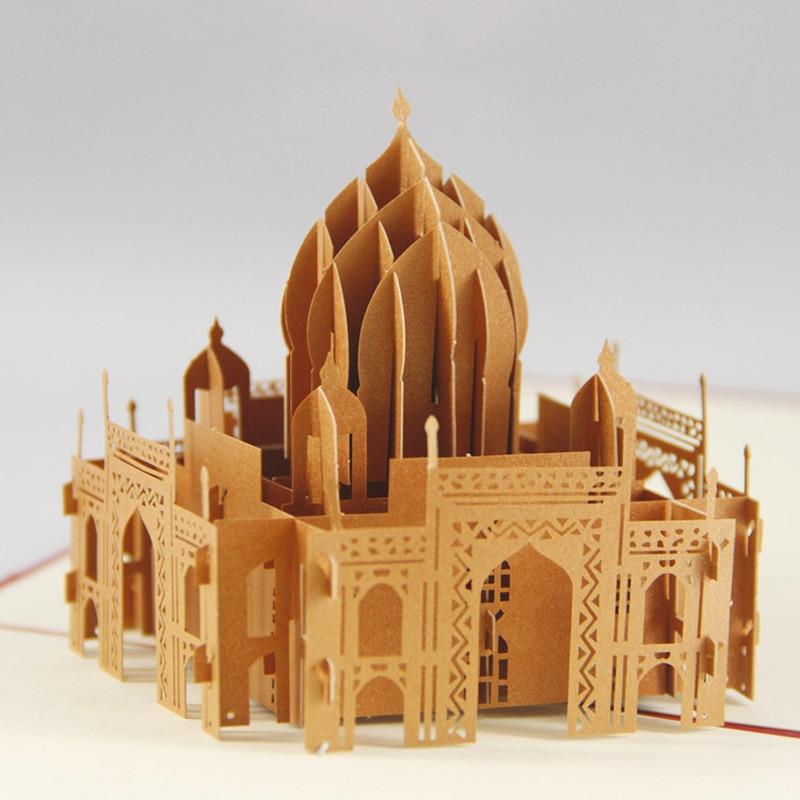 3D Pop Up Card Taj Mahal Buildings Famous Gift Creative New Hot Greeting Cards