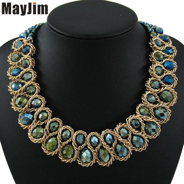 Dichiarazione Collana di Modo per Le Donne 2017 Vintage Collare Catena D'oro Grande Doppio Bead di Cristallo Choker Collane & Pendenti Bijoux