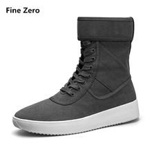 Fine Zero Autumn Winter Male Super Cool Zipper Boots Male Height Increase Snow Ankle Botas High Quality Motorcycle Man Boots