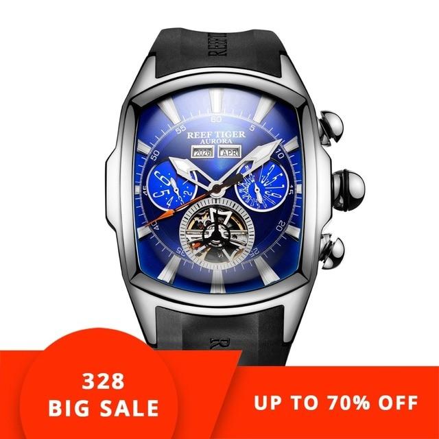 Reef  Tiger/RT Designer Sport Watches Tourbillon Blue Dial Analog Display Watches Rubber Strap Luminous Watch for Men RGA3069