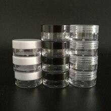 100pcs 2g 3g 5g Piccolo di Plastica Cosmetici Jar Crema Balsamo per le labbra Contenitore Vasi Vaso Packaging Cosmetico, di plastica Piccolo Vaso Box Cosmetici