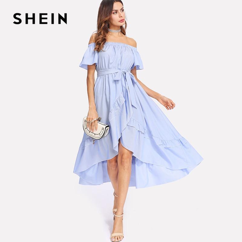 7be096d9c9 SHEIN Ruffle Trim Overlap Hem Striped Bardot Dress 2018 Summer Long Dresses  Off The Shoulder Tie Waist A Line Asymmetrical Dress-in Dresses from  Women's ...