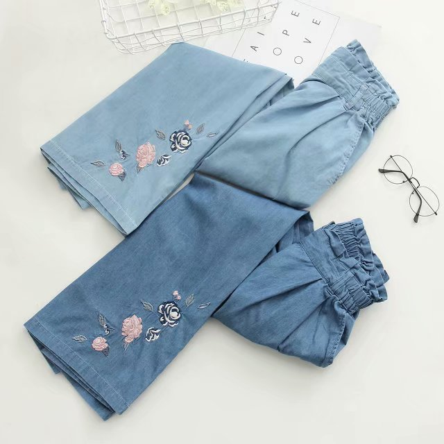 PANT WOMEN Japanese Mori girl small fresh embroidery elastic waist loose wide leg pants casual thin days jeans PANTS