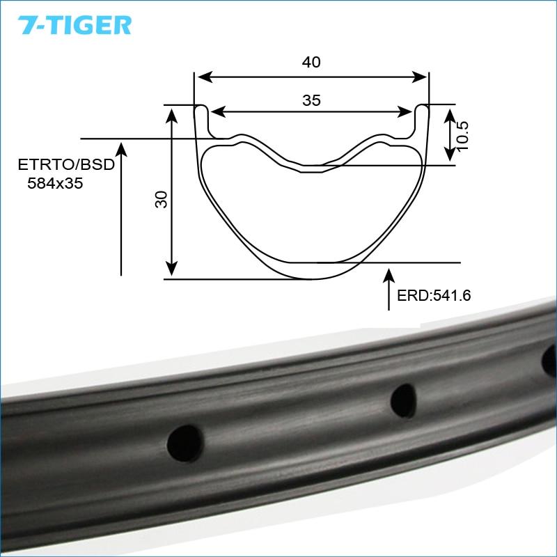 7-TIGER  27.5 Er   Carbon Fiber Bicycle Mtb Rim 30mm Profile 40mm Width Matte Finish 28/32 Holes For XC/AM/DH