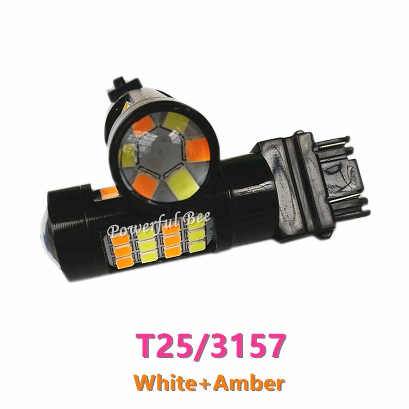 2 x Новый двойной цвета Т25/3157 белый и Янтарный 42SMD СИД DRL вождение автомобиля Лампа сигнала поворота света Лампа