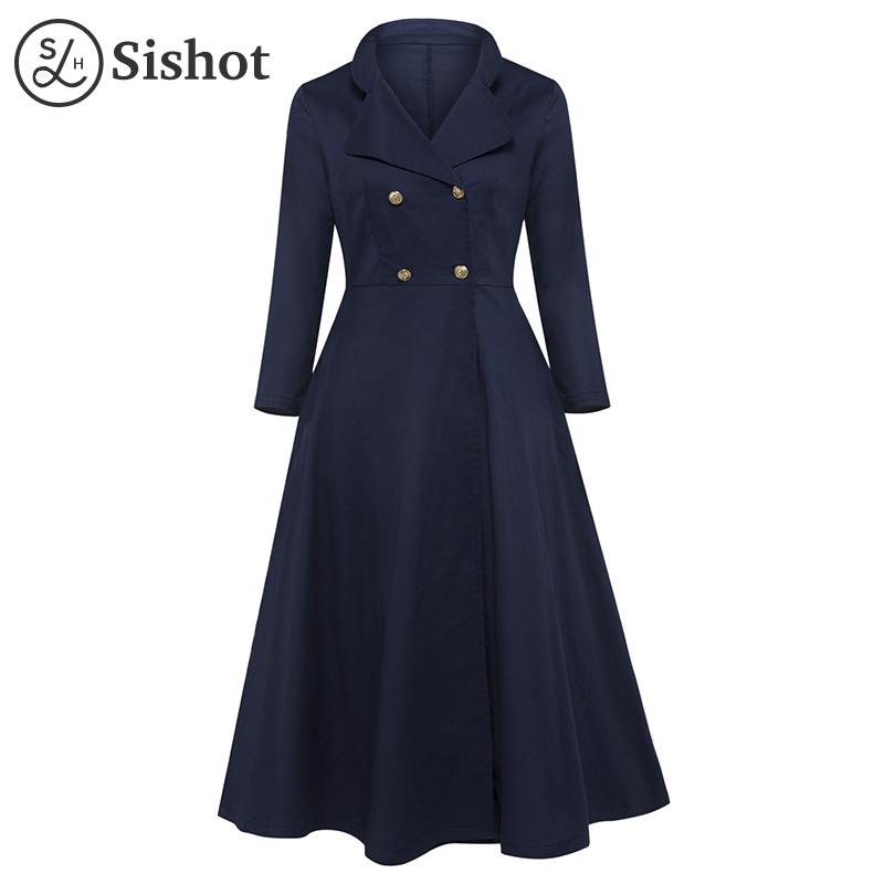 Sishot women vintage long dresses 2017 autumn winter blue plain a line elegant long sleeve mid calf button fall maxi retro dress