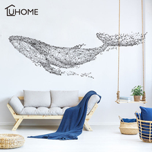 Large 165*55Cm/65*21in Black DIY 3D Geometric Whale PVC Wall Decals/Adhesive Family Wall Stickers Mural Art Home Decor