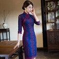 Новое Прибытие Короткие Тонкий Женщин Кружева Cheongsam Dress Китайский Дамы Qipao новинка Сексуальная Цветок Dress Размер M, L, XL, XXL 3XL F110215