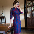 New Arrival Short Slim Women Lace Cheongsam Dress Chinese Ladies's Qipao Novelty Sexy Flower Dress Size M L XL XXL 3XL F110215