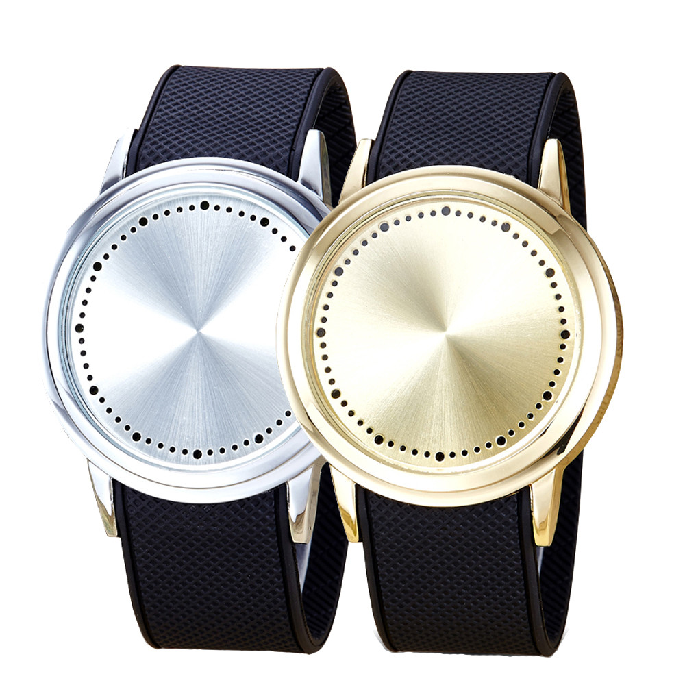 Hot 2017 Fashion Couple Touch Screen Circular Pattern Silicone Band LED Wrist Watch Drop Shipping Dropship Y7106*