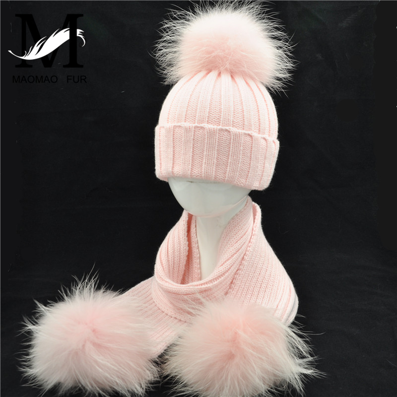 Mother And Child Hat And Scarf Set High Quality Winter Real Raccoon Fur Pom Pom Knitted Fashion New Beanies Hat Scarves