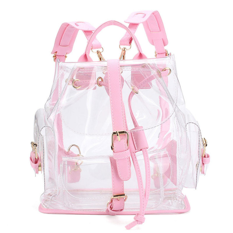 2017 Women's Clear Plastic See Through Security Transparent Backpack Bag Girls Travel Bag Adjustable Belt Rucksacks A7 system security through log analysis
