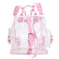 2017 Women's Clear Plastic See Through Security Transparent Backpack Bag Girls Travel Bag Adjustable Belt Rucksacks A7