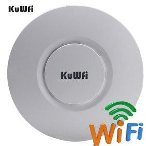 Image 1 - KuWfi routeur sans fil dintérieur 300M sans fil plafond AP routeur Point daccès WiFi AP avec amplificateur de Signal wi fi 48V POE