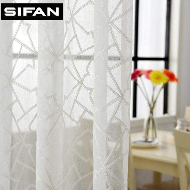 New Modern Geometric Embroidered Voile Curtains For Living Room The Bedroom Tulle Sheer Window Fabric