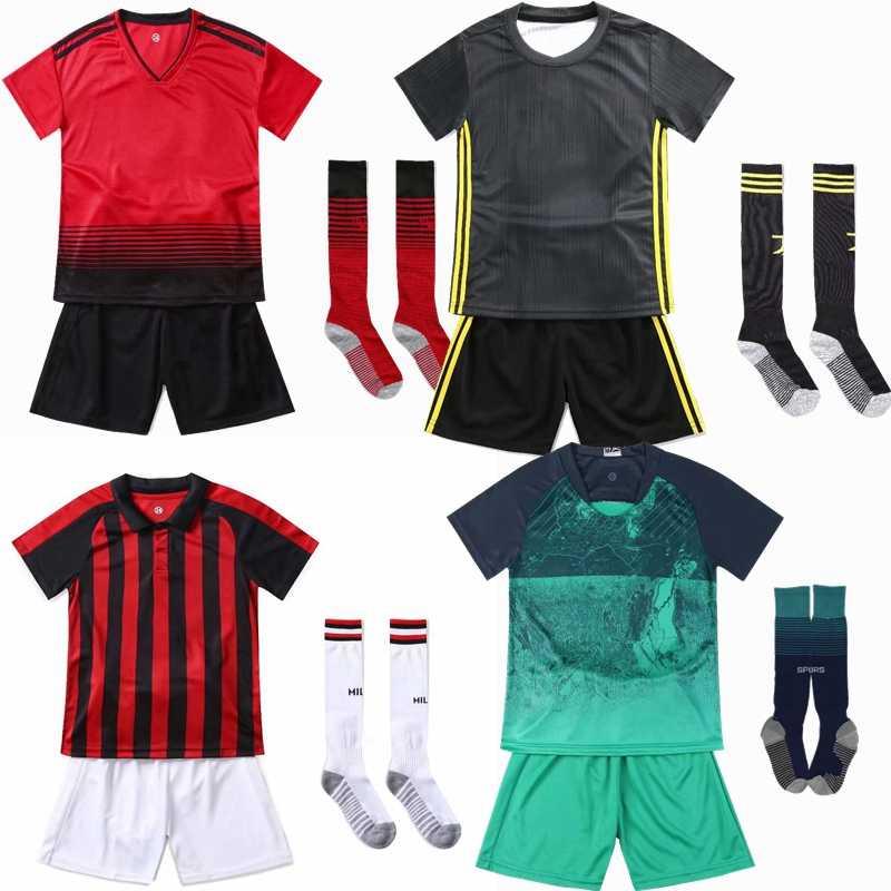 18//19 Football Soccer Full Kit Kids Youth Team Sports Training France Suit+Socks