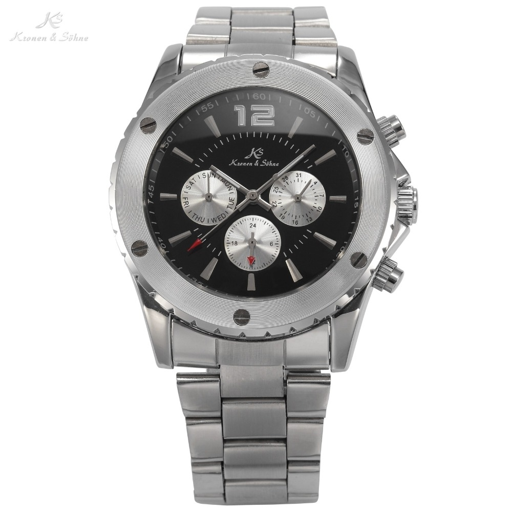 KS Analog Automatic Mechanical Date Day Display 6 Hands Stainless Steel Black Dial Sport Men Wrist