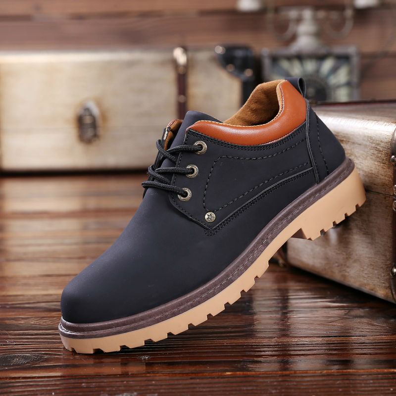 Hot 2018 Spring Autumn Men Leather Casual Shoes British Fashion Men Lace-Up Waterproof Boots Man Retro High Top Breathable Shoes