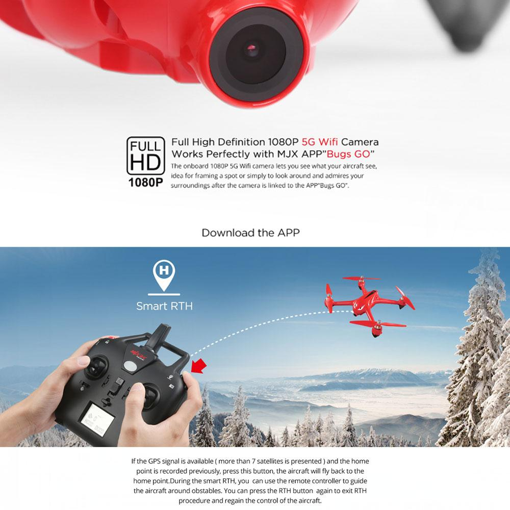 B2W 2.4GHz Brushless GPS WIFI FPV 1080P Camera RC Quadcopter Drone Toys