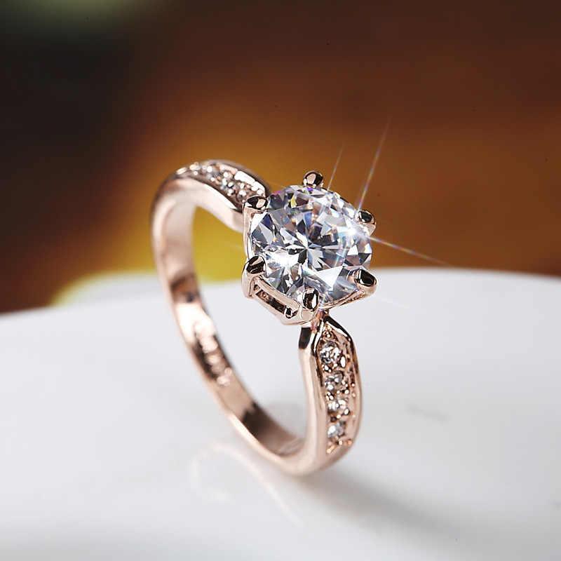 2 quilates Gran Piedra zirconia señora anillo abierto genuino oro-color puro blanco cobre boda anillos Mujer joyería nupcial