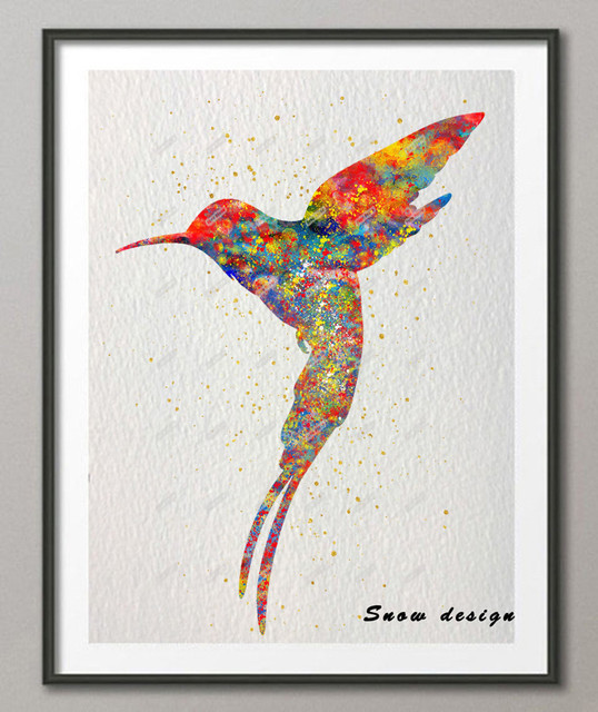 Original Watercolor Hummingbird Poster Print Pictures Canvas Painting Birds  Wall Art Living Room Home Decor Wall