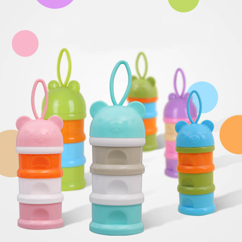 Feeding-Tools Snacks Milk-Container Cartoon Plastic Portable Pp Three-Grid 1-Pc Candy-Supplies