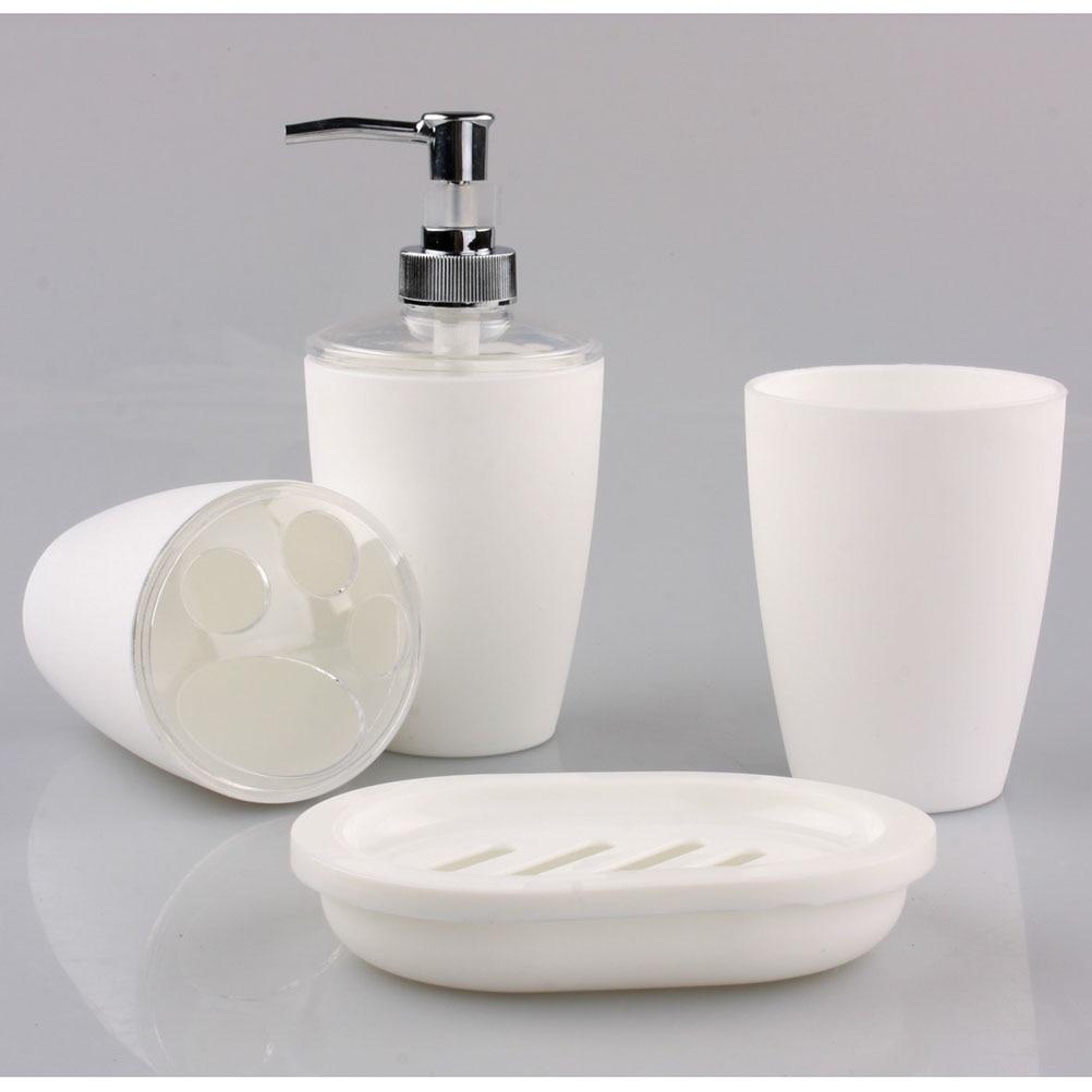 4pc plastic elegant soap dish dispenser shampoo bottle for Bath accessories holder