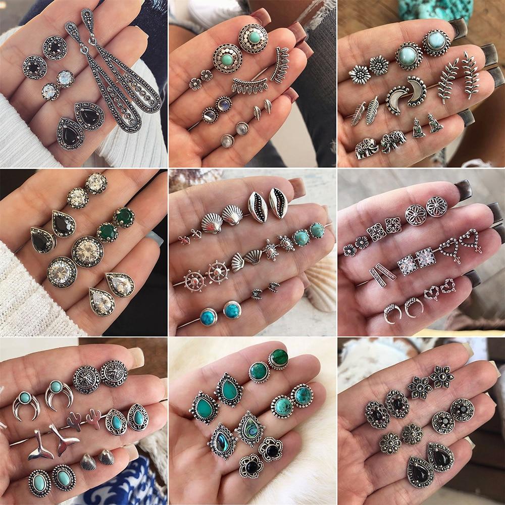 4 Pairs/Set Women Crystal Bohemian Earring Stud Earrings For Women Boucle D'oreille Jewelry Dazzling Cubic Zirconia Opal Brincos
