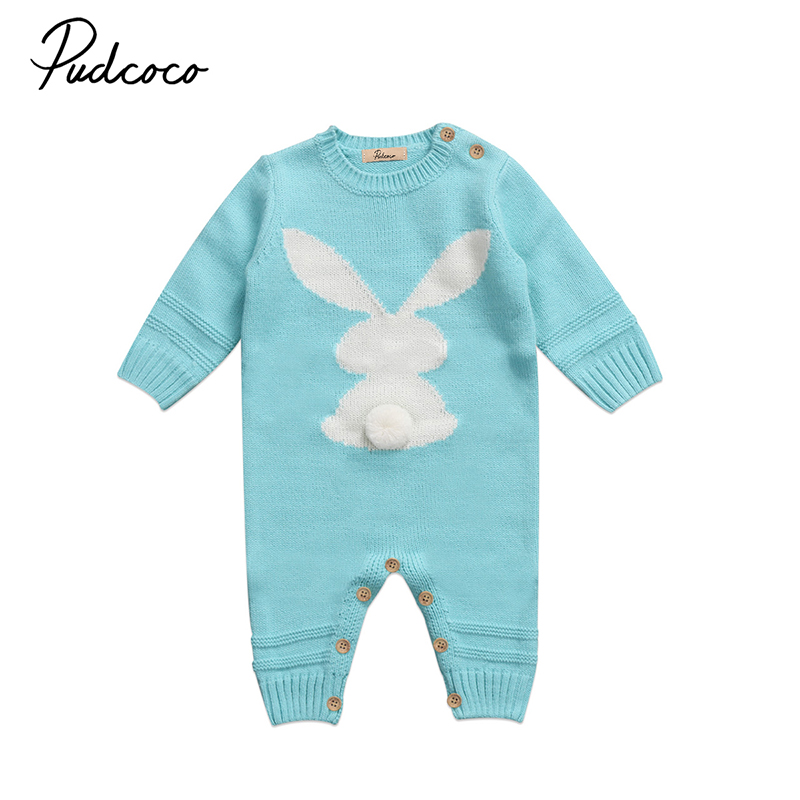2017 Autumn Winter Cute Newborn Baby Boy Girl Knit Romper Long Sleeve Bunny Warm Jumpsuit Playsuit Oufits Clothes baby sweater child knit sweaters toddler winter warm long sleeve bodysuit cardigan girl jumpsuit kardigan bebe traje de cuerpo