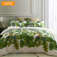 100 Cotton Soft Satin Silky Bedding Set Pieces Plant Printing Green Leaf Pattern Set Bed Sheet