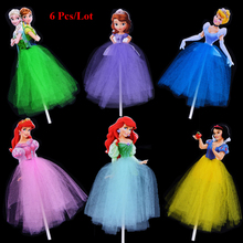 children girls birthday cupcake toppers princess girl mermaid snow white sofia cinderella rapunzel party cake topper flags
