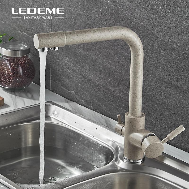 LEDEME Filtro de purificación de cocina Cuenca del grifo con agua potable del rociador Dual-barra de la manija del grifo de agua de latón L4055 - 4