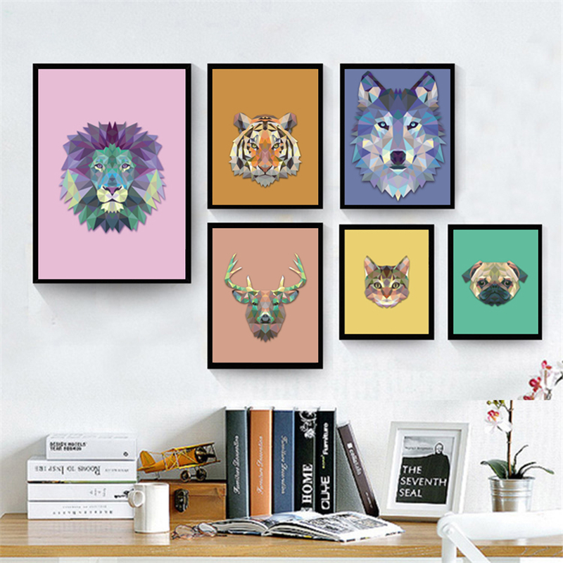 Nordic Colorful Abstract Geometry Animal Head Canvas Painting Deer Cat Tiger Lion Bulldog Dog Wolf Deer Poster Print Room Decor