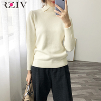 RZIV Spring casual sweater female solid color high necked long sleeved sweater Slim