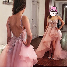 robe de soiree longue 2019 Hi Low Evening Dress abendkleider Elegant Long Dresses Spaghetti Custom Made