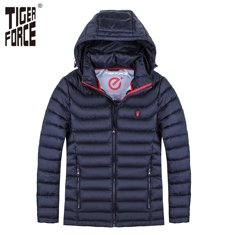 TIGER FORCE 2017 Men Winter Jacket Fashion Padded Coat Bio-based Cotton Autumn Jacket Man Detachable Hood European Free Shipping