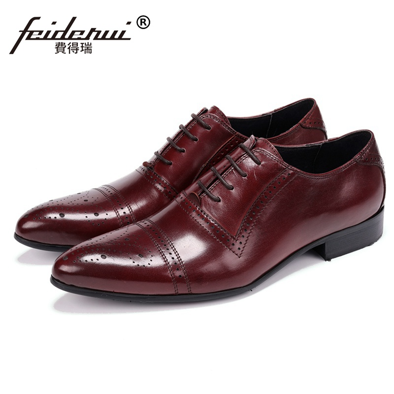 Luxury Man Handmade Wedding Shoes Genuine Leather Semi Brogue Carved Oxfords Pointed Toe Men's Formal Dress Prom Footwear JS107 men luxury crocodile style genuine leather shoes casual business office wedding dress point toe handmade brogue footwear oxfords page 5 page 5 page 2 page 1