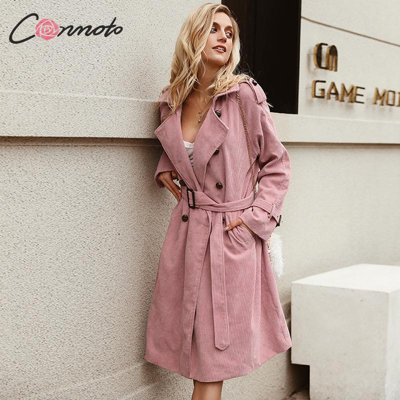 Conmoto Pink Corduroy Long Trench Women Coat Belt Tie High Fashion Autumn Winter 2019 Windbreaker Double-breast OL Coats Trenchs